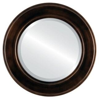 Montreal Framed Antique Bronze Round Mirror