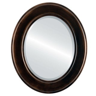 Montreal Rubbed Antique Bronze Wood Framed Oval Mirror