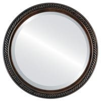 Santa Fe Rubbed Antique Bronze Wood Framed Round Mirror