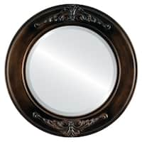 Ramino Framed Round Mirror in Rubbed Bronze - Antique Bronze