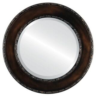 Paris Antique Rubbed Bronze Wooden Framed Beveled Round Mirror