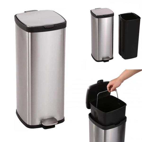 8 Gallon/ 30L Step Stainless Steel Trash Can Kitchen S30T