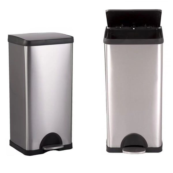 Attractive 10 Gallon/ 38L Step Stainless Steel Trash Can Kitchen S38