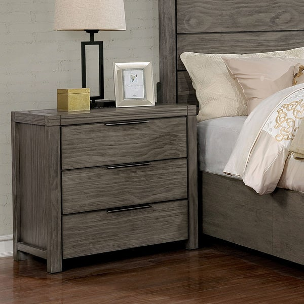 Ziva Rustic Grey 3-drawer Nightstand by FOA
