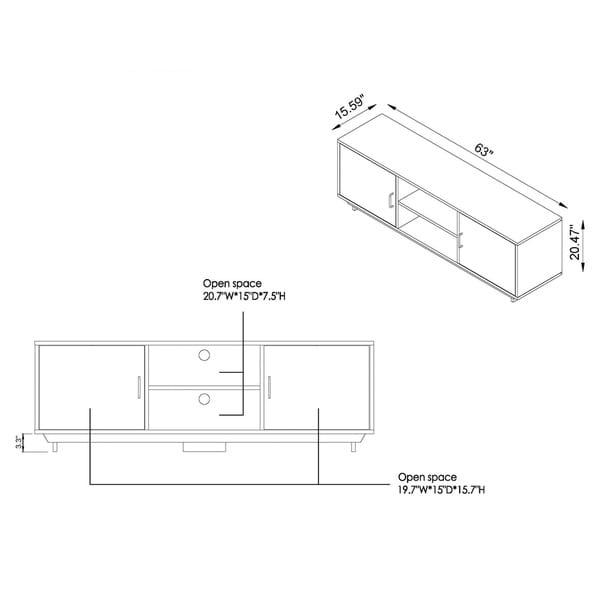 Furniture of America Vell Oak 63-inch Multi-functional Storage TV Console