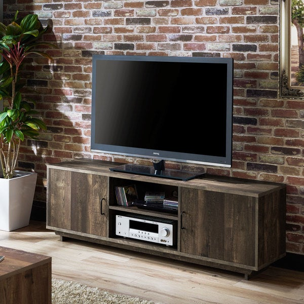 Furniture Of America Mailer Rustic Reclaimed Oak 63 Inch TV Stand With  Storage