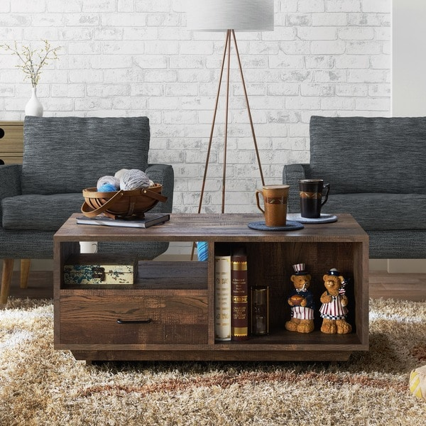 Shop Furniture Of America Mailer Reclaimed Oakfinished Rustic - Oak coffee table with drawers and shelf