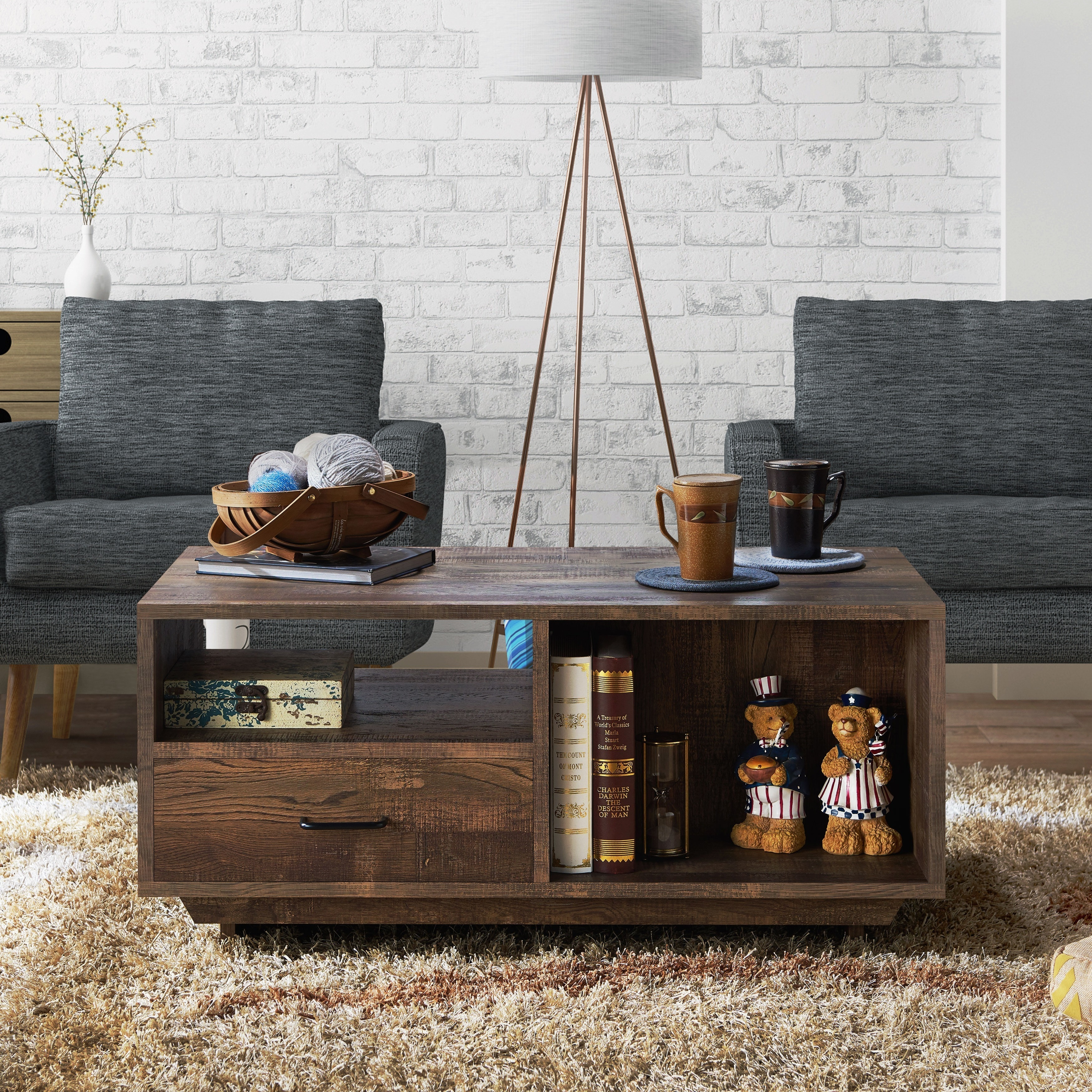 Furniture Of America Vell Rustic Oak Storage Coffee Table Overstock 19471491