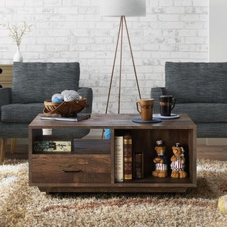 Furniture of America Vell Rustic Oak Storage Coffee Table