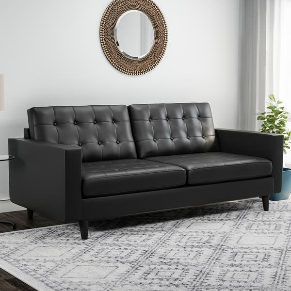 Admirable Shop Carson Carrington Eggedal Tufted Bonded Leather Sofa Andrewgaddart Wooden Chair Designs For Living Room Andrewgaddartcom