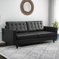 Carson Carrington Eggedal Tufted Bonded Leather Sofa