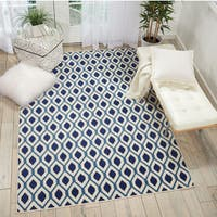 "Nourison Grafix White/Navy Geometric Area Rug - 5'3"" x 7'3"""