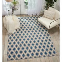 Nourison Grafix Blue/Grey Diamond Area Rug - 7'10 x 9'10