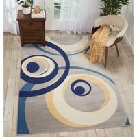 Nourison Grafix Grey/Blue Spiral Area Rug