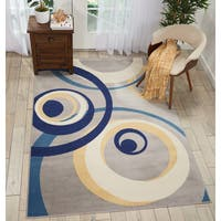 Nourison Grafix Grey/Blue Spiral Area Rug (5'3 x 7'3)