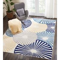 Nourison Grafix White/ Blue Radial Area Rug - 7'10 x 9'10