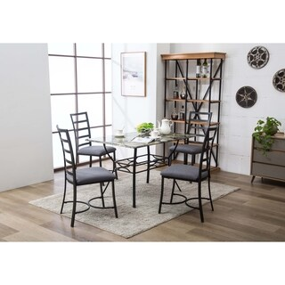 Bastian Metal and Upholstered 5 PC Dining Room Set
