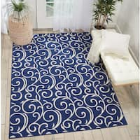 Nourison Grafix Abstract Navy Area Rug (7'10 x 9'10)