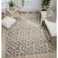 Nourison Grafix Grey/White Vine Swirls Area Rug (7'10 x 9'10)