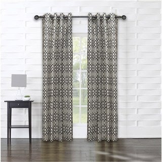 14 Karat Home Grey Geometric Cotton Blend 83-inch Curtain Panel - 53 x 83 inches