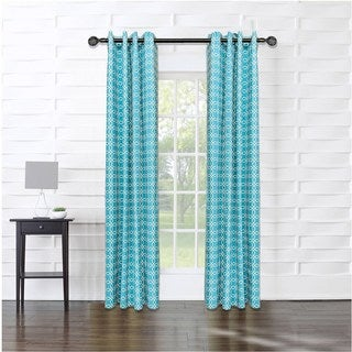 14 Karat Home Harbor Geometric Cotton Blend 83-inch Curtain Panel