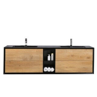 Eviva Vienna 75 in. Oak Black Vanity