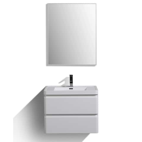 """Eviva Glazzy 28"""" Glossy White Wall Mount Modern Bathroom Vanity w/ White Integrated Top"""