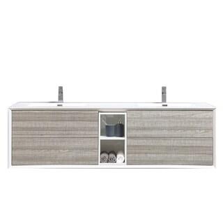 Eviva Vienna Ash White Wood 75-inch Vanity