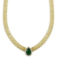 Dolce Giavonna Gold Overlay Simulated Emerald & Diamond Accent Necklace