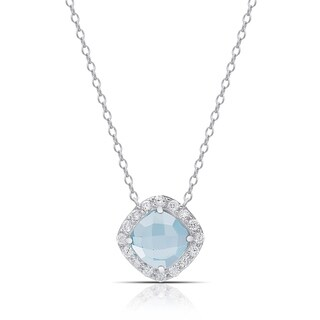Dolce Giavonna Sterling Silver Gemstone and Cubic Zirconia Necklace
