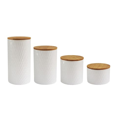 Diamond Embossed 4 PC Canister Set