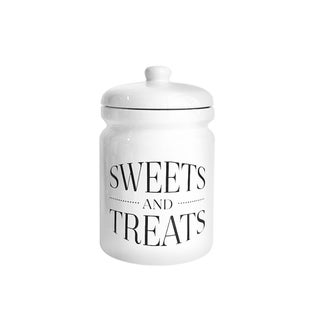 """Pantry White/Gold Canisters """"Sweets and Treats"""""""