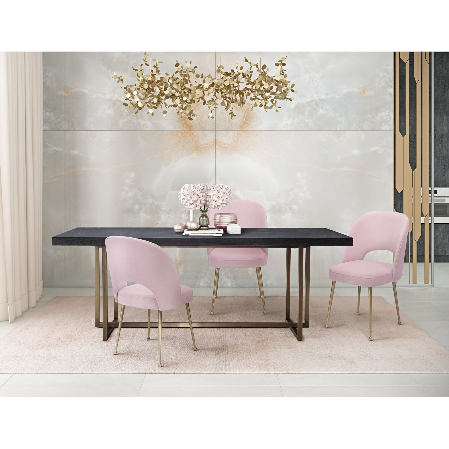Swell Blush Dining Set With Mason Dining Table 5 Pieces