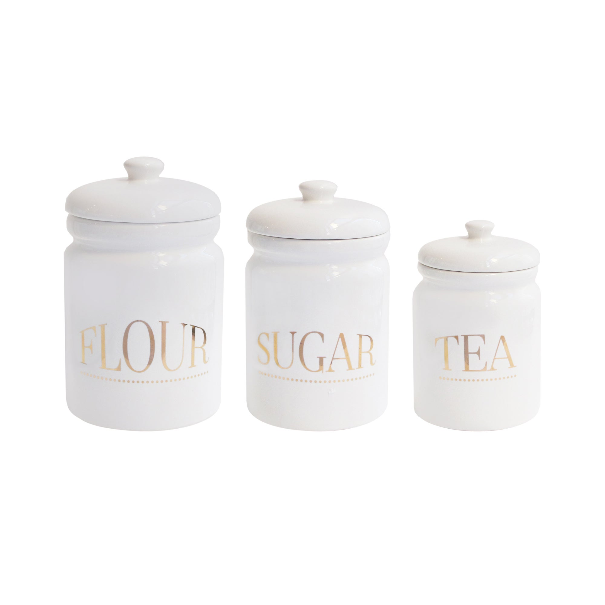 Pantry Canister Jar Lidded Kitchen Flour Sugar Tea Storage White ...