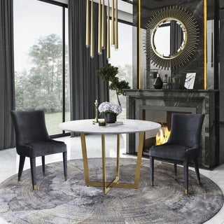Maxim Marble Dining Table with Diamond Grey Dining Chair- 5 Pieces.