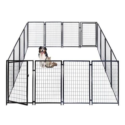 ALEKO Dog Kennel Pet Playpen Cage Fence 10X10X4 Feet - Black