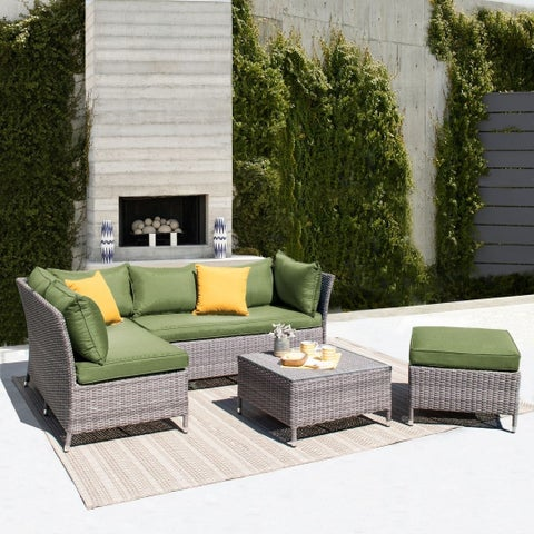 Corvus Bellanger 4-piece Grey Wicker Patio Furniture Set with Peacock Cushions