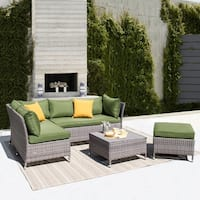 Corvus Bellanger Outdoor 4-piece Grey Wicker Furniture Set with Peacock Cushions