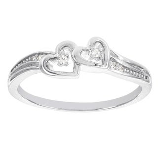 H Star Sterling Silver Diamond Accent Double Heart Promise Ring