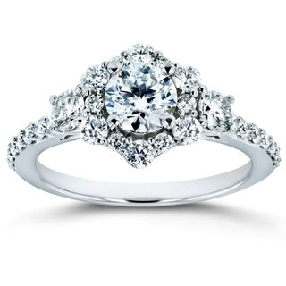Annello By Kobelli 14k White Gold 1 1 8ct TGW Forever One Colorless D F Moissanite And Diamond Starry Floral Antique Ring