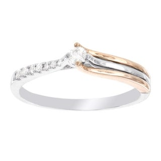H Star Sterling Silver and 10k Rose Gold 1/8ct Diamond Promise Ring