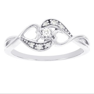 H Star Sterling Silver Diamond Accent Double Heart Ring