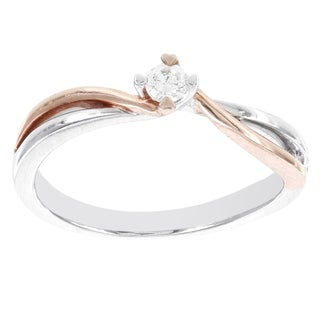 H Star 10k White and Rose Gold 1/10ct TDW Diamond Solitaire Promise Ring