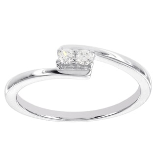 H Star Sterling Silver 1/10ct 2-stone Diamond Promise Ring
