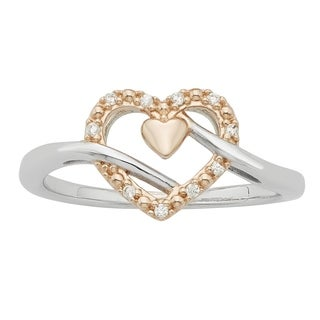 H Star Sterling Silver and 10k Rose Gold Diamond Accent Double Heart Ring
