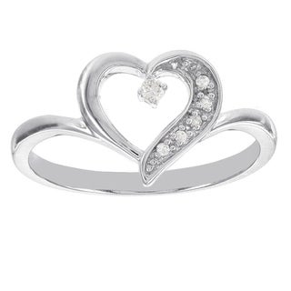 H Star Sterling Silver Diamond Accent Heart Ring