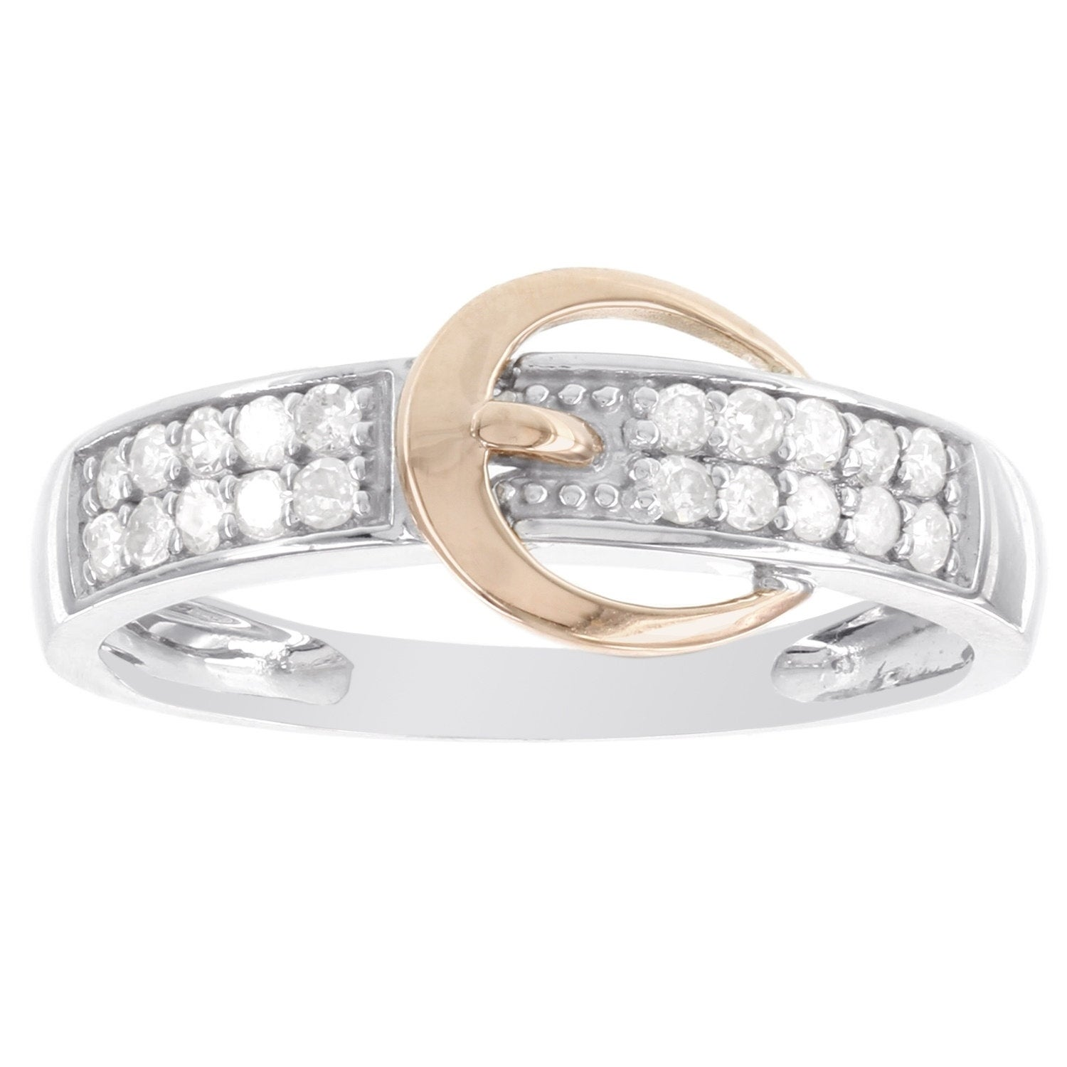 1//5 ct Diamond Buckle Ring in Sterling Silver /& 14K Gold