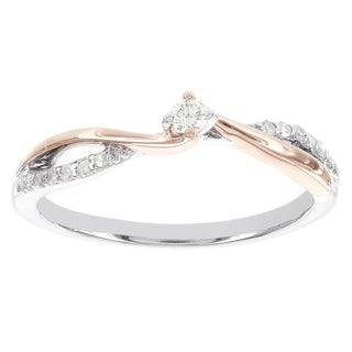 H Star Sterling Silver and 10k Rose Gold 1/10ct TDW Diamond Promise Ring