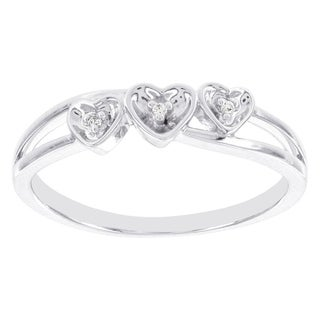 H Star Sterling Silver Diamond Accent Triple Heart Promise Ring