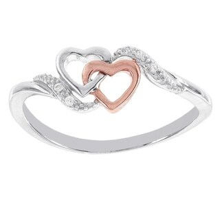 H Star Sterling Silver and Rose-plated Diamond Accent Double Heart Ring